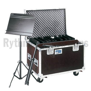 Flight case 20 pupitres « Orchestra » double rebord