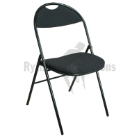Folding Black fabric chair with handle for Orchestra