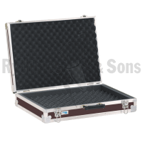 Storage case for 16 microphones holds horizontally