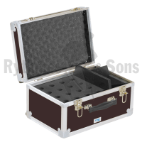 Storage case for 16 microphones holds vertically