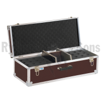 Storage case for 32 microphones holds vertically