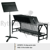 Set of 20 MANHASSET<sup>®</sup> Symphony #48 Music Stands+Trolley+FREE 10 Pen holder clips