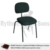 Set of 6 RYTHMES & SONS 'Orchestra' chair H47cm + FREE Transport wheels board